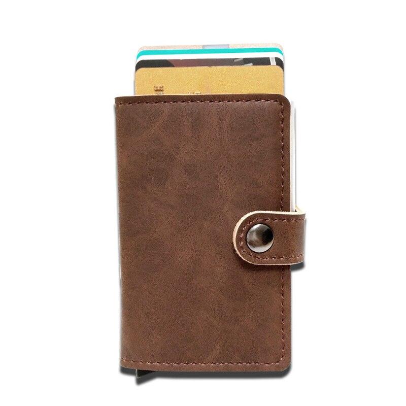 Neue Ankunft Männer Frauen Kreditkarte Halter Vintage PU Leder Aluminium Diebstahl RFID Geldbörse Karten Fall Blockieren Mini Brieftasche