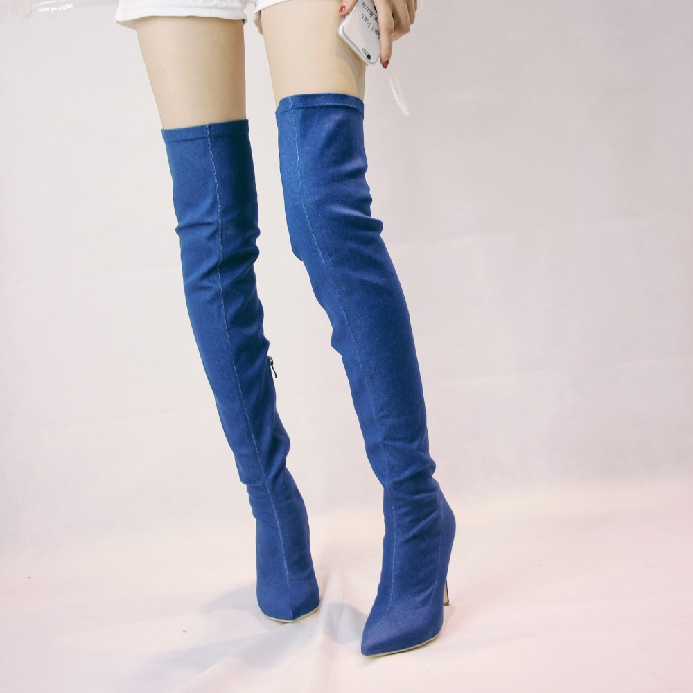 Sexy Fashion Women Denim Over Knee High Boots Pointed Toe Zipper Tight Shoes Casual Thigh Heels Handmade Customized Freeshipping
