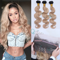 7A Soft 360 Full Lace Frontal Closure With 3 Bundles Indian Virgin Hair Body Wave Ombre #1B/27 Natural Hairline With Baby Hair