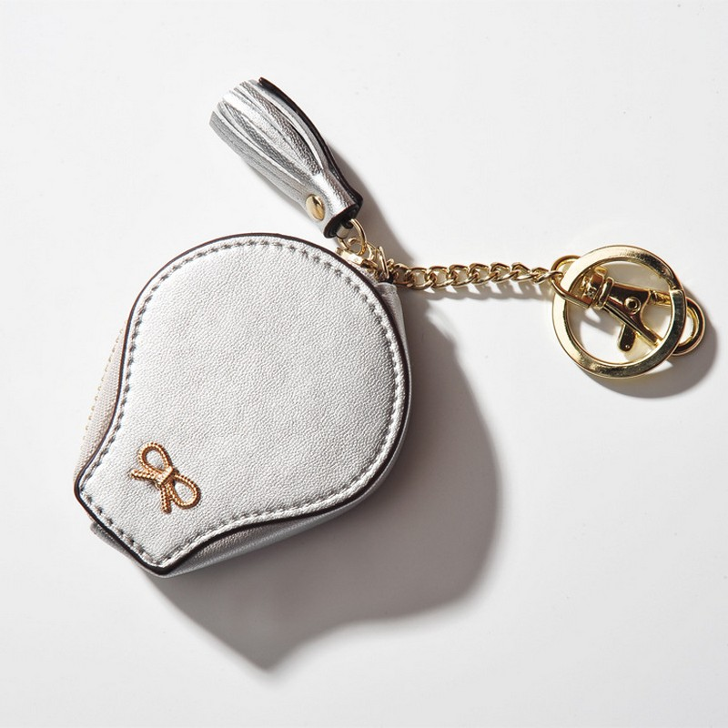 MeanCat White PU Lighting Bulb Mini Coin Bags with Tassel Keyring for Money Collection Handbags Decroation