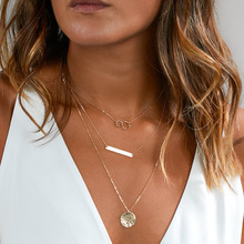 New Hot Fashion Geometric Triangle Rectangular Round Pendant Multilayer Metal Link Chain Chokers Necklaces Women Jewelry
