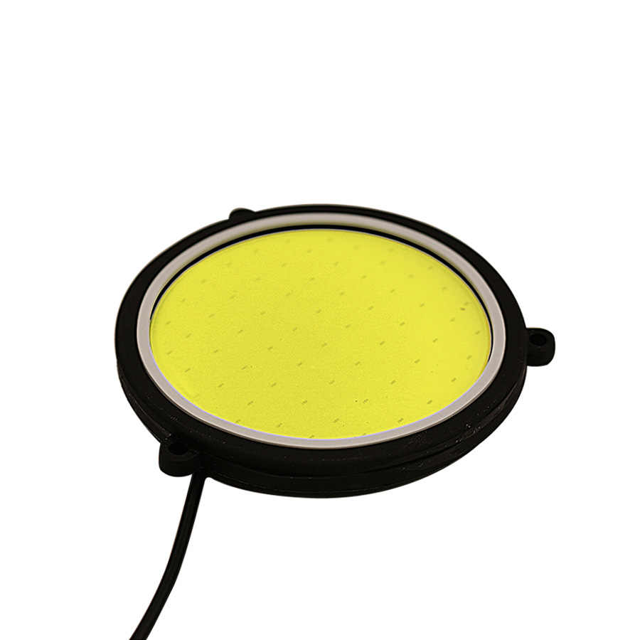 مصباح نهاري DRL للسيارة مصباح مرن مستدير الشكل LED أبيض مصباح قيادة أضواء COB تزيين السيارة 2 قطعة 12 فولت تيار مستمر 90 مللي متر