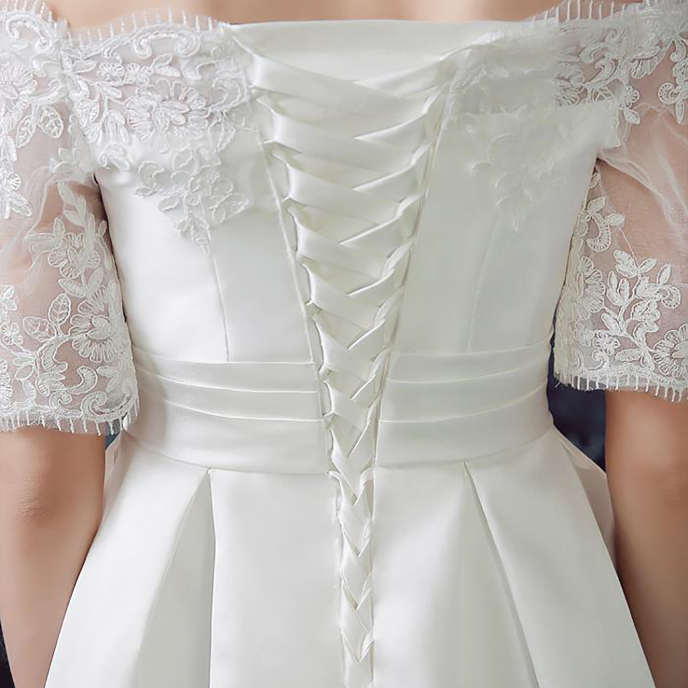 05717ae9155 New style 2016 white sexy taffeta boat neck off shoulder half sleeves wedding  dress lace bandage mini a line dress