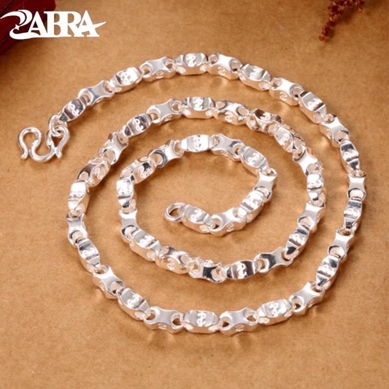 ZABRA 990 Sterling Silver Necklace For Men Women 4 5mm Length 55cm Vintage Chain Hip Hop