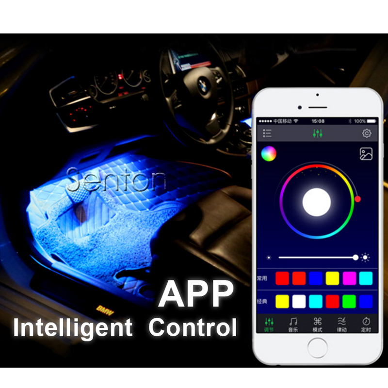 Car APP Control <font><b>Interior</b></font> Neon Lamp <font><b>For</b></font> <font><b>Peugeot</b></font> 307 206 308 <font><b>407</b></font> 207 2008 3008 508 406 208 <font><b>For</b></font> Citroen C4 C5 C3 C2 <font><b>Accessories</b></font> image