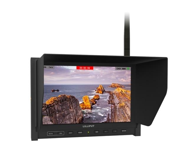 Lilliput 339/DW Fatshark 5.8G Receiver Dual Antennas 7 Inch HD Wireless Black Pearl FPV Monitor Built-in Battery