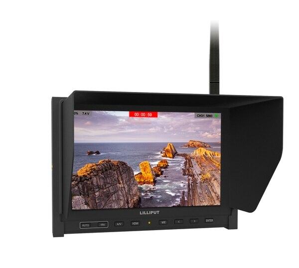Lilliput 339/DW fatrequin 5.8G récepteur double antennes 7 pouces HD sans fil noir perle FPV moniteur batterie intégrée