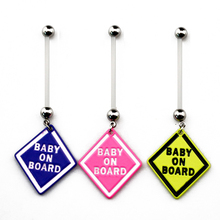 BOG-Lot Of 10 Pieces Pregnant Pregnancy Navel Belly Ring Barbell with Baby On Board Sign, 1 Inch Flexible Bar(China)