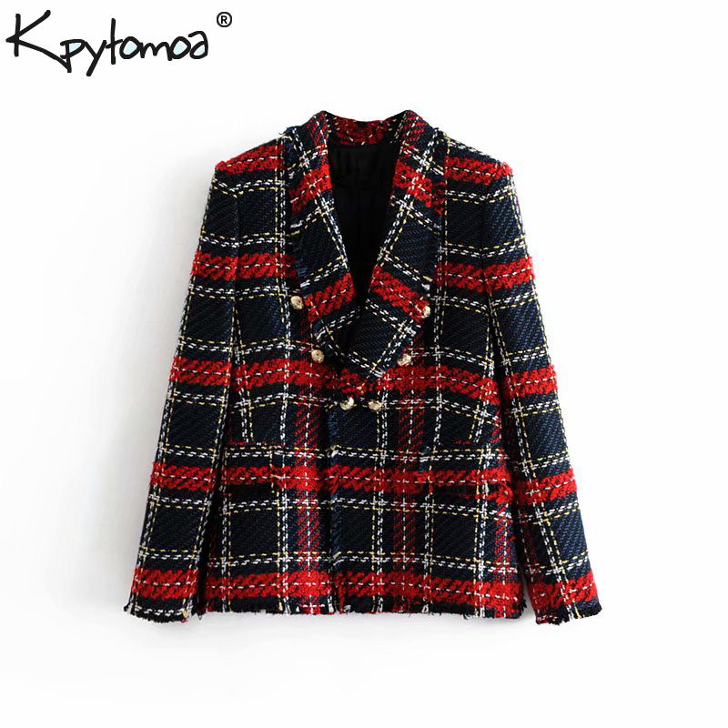 Vintage Double Breasted Frayed Checked Tweed Blazers Coat Women 2019 Fashion Pockets Plaid Ladies Outerwear Casual Casaco Femme(China)