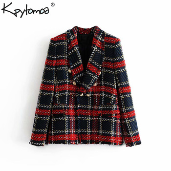 Vintage Double Breasted Frayed Checked Tweed Blazers Coat Women 2018 Fashion Pockets Plaid Ladies Outerwear Casual Casaco Femme