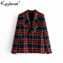 KPYTOMOA Vintage Double Breasted Frayed Checked Tweed Blazers Coat Women 2019 Pockets