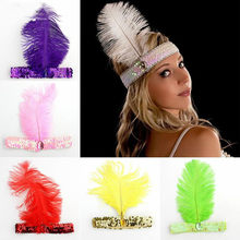 2019 Feather Headbands Flapper Sequin Charleston Dress Accessories Costume Hairband Headpiece Women Ladies Fashion Party Jewelry(China)