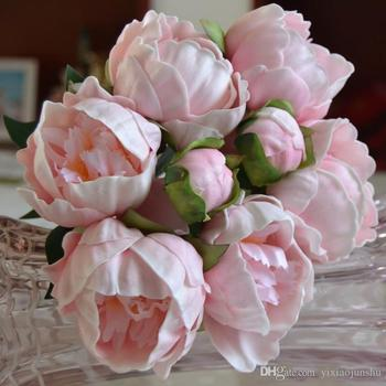 Real Touch 8 Flowers Heads PU Peony Buds bouquet wedding bride Holding flower bridal hand hold flowers home decorative