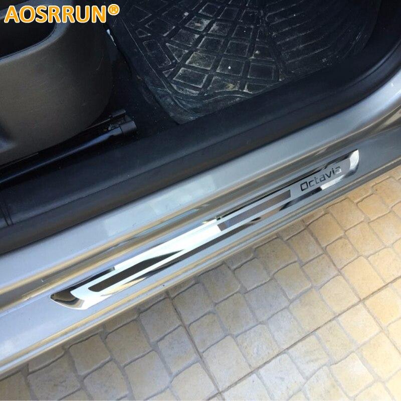 AOSRRUN Para Skoda Octavia A5 A7 2007-2012 2013 2014 2015 2016 acessórios Do Carro Carro-styling de aço Inoxidável Soleira da porta Placa de chinelo