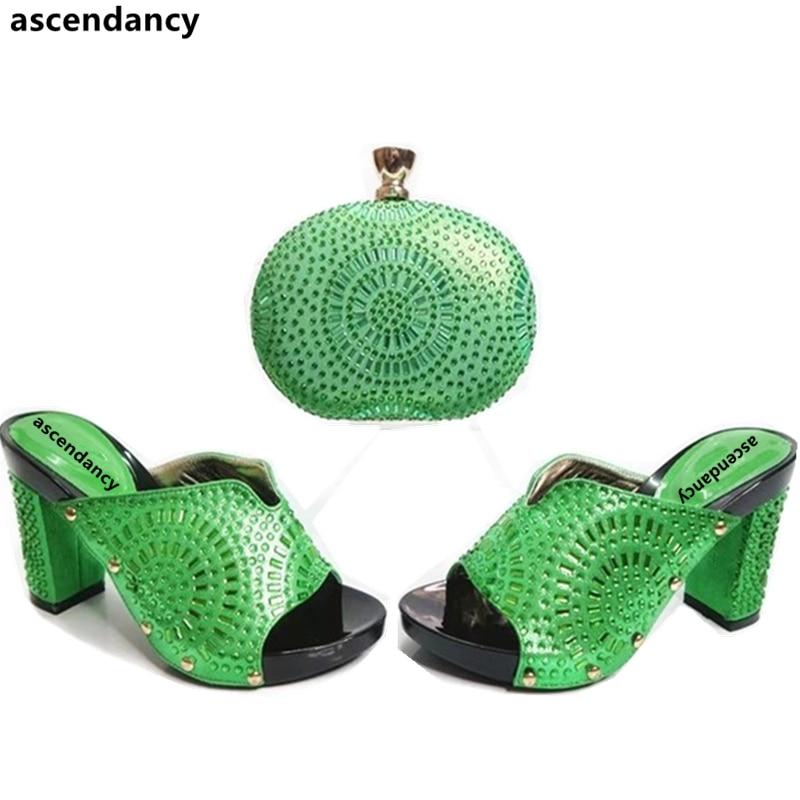 Azul Juego Con Conjuntos Conjunto Verde Imitación A De rosado Color púrpura Y Italianos Diamantes Zapatos amarillo verde Bolsos Novedad 6vqzOz
