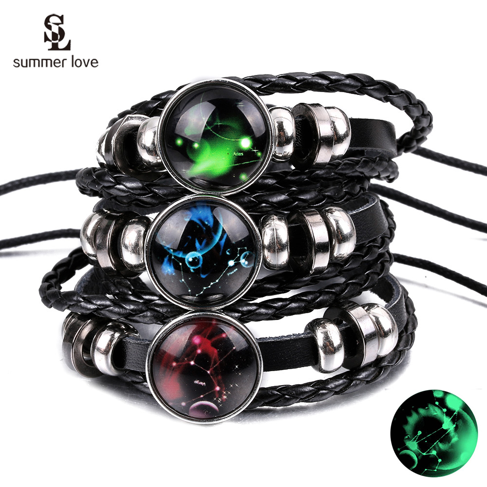 New 12 Constellation Luminous Bracelets Multilayer Leather Bracelet Charm Bracelets for Men Boys Women Jewelry Birthday Gifts image