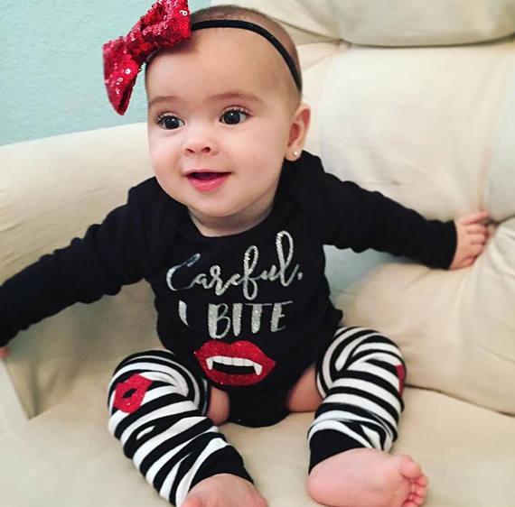 Cute Baby Girl Lips: 2017 Newborn Cute Princess Careful I Bite Print Flame Lips