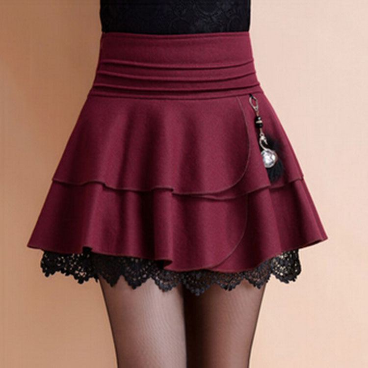 Autumn Winter 2015 New Women High Waist Woolen Skirt Fashion Double Layers Line Mini Skirts Black Burgundy Plus Size - Beauty & Coast store