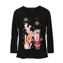 2017 Autumn Winter T Shirts Women Christmas Deer Letter Printed Long Sleeve T-Shirt Female Casual Tees Femme