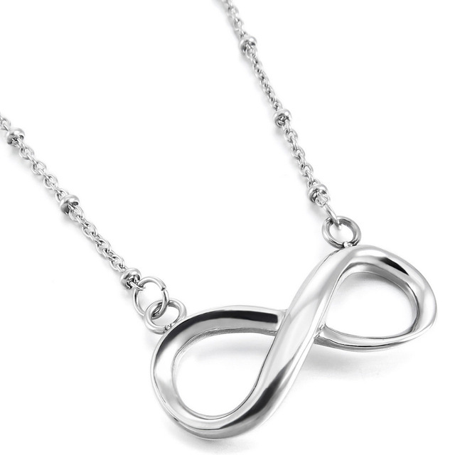 Womens Stainless Steel Pendant Necklace Silver Infinity Symbol Love