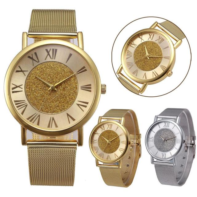 montre femme Stainless Steel Quartz Analog Luxury Women Wrist Watch Crystal Drop