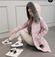 Down Parka Winter Jacket Women Cotton Padded Thick Ultra Light Long Coat Faux Fur Collar Hooded Female Jackets For Woman
