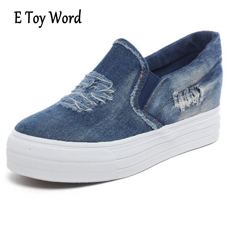 E TOY WORD Spring Increased Cowboy Women Casual Shoes Low Help Students Set Foot Thick Canvas Shoes Loafers Zapatillas Mujer e toy word canvas shoes women han edition 2017 spring cowboy increased thick soles casual shoes female side zip jeans blue 35 40