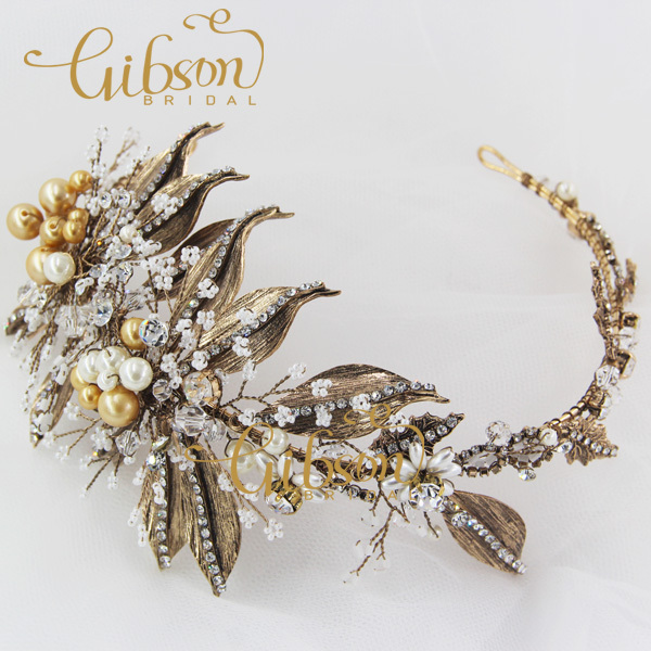 Free Shipping Antique Brass Color Korean & Gothic Style Leaf and Small beads Decorated Wedding Bride Hairband