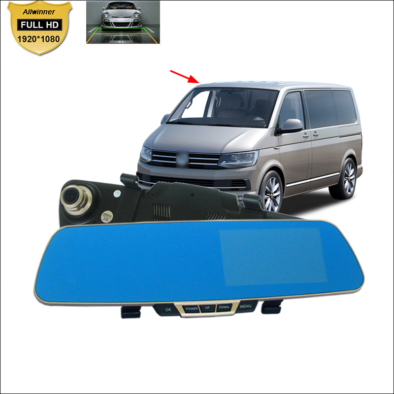 Car DVR For vw caravelle t4 t5 Blue Screen Rearview Mirror Video Recorder Car Dual Camera 5 INCH Car Black Box Camcorder 1080P