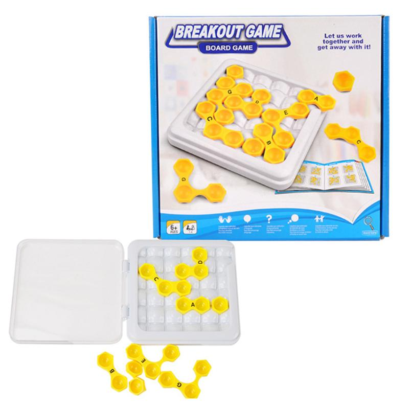 Plastic Hexagon Puzzle Escape Table Game IQ Brain Teaser Matching Puzzle Kids Early Educ ...