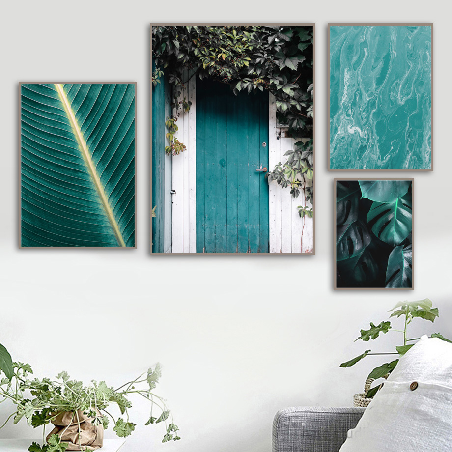 Image 3 - Green Plant banana Leaves Door Landscape Nordic Posters and Prints Wall Art Canvas Painting Wall Pictures For Living Room Decor-in Painting & Calligraphy from Home & Garden