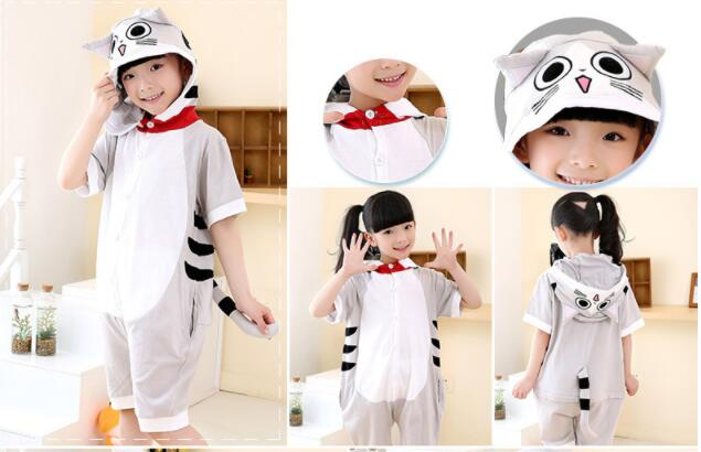 Boys Girls Summer Days Short-sleeved Cartoon Animal Children's Piece Pajamas Cotton Home Service Cat Lovely Spring Autumn cami satin two piece summer pajamas