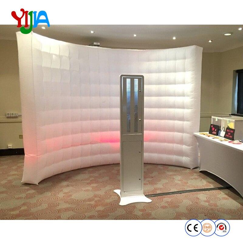 Vestido de casamento, pano de fundo da festa 10ft * 8ft LED inflável parede cor branca portátil photo booth parede pano de fundo com ventilador de ar interno dentro