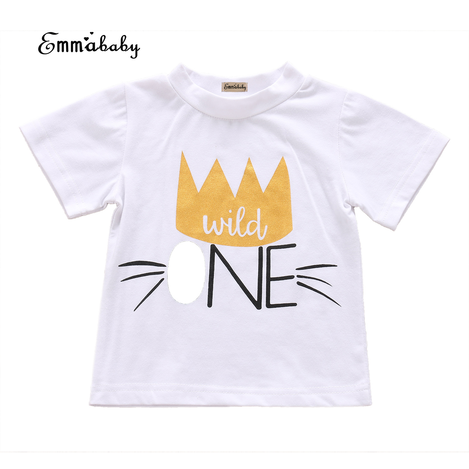Baby Birthday Clothing Toddler Infant Baby Boy Clothes Girls Shirts Crown Printed 2017 Summer Clothes T-shirt Tops Short Sleeve