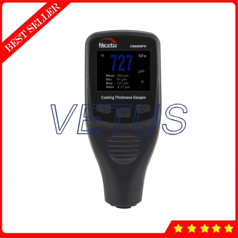 CM8806FN Digital Medidor de Espessura de Revestimento Tester Medidor de Espessura de Revestimento Do Corpo Do Carro Resolução 1um 0.1 mils