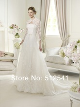 2013 NEW Arrival Wedding Dresses A Line Strapless Lace Sequin Applique Organza Sweep Tain RD0772
