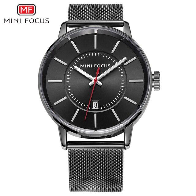 37cedf742f24 Nueva Moda de primeras marcas de lujo Mini focus relojes hombres correa de  malla de acero