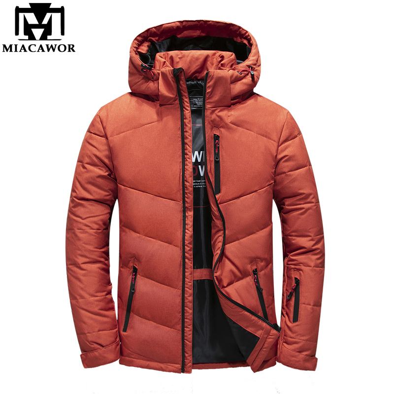MIACAWOR New Brand Down Jacket Men Warm Winter Jacket Hooded Duck Down Coat Casual Men Parkas Windbreaker Outerwear J637