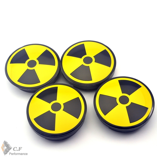 Rhino Tuning 4pc 555mm Nuclear Radioactive Symbol Car Wheel Center