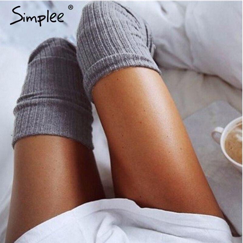 Simplee knitting high knee socks long Sexy stockings female hosiery Casual high socks black 2017 classical