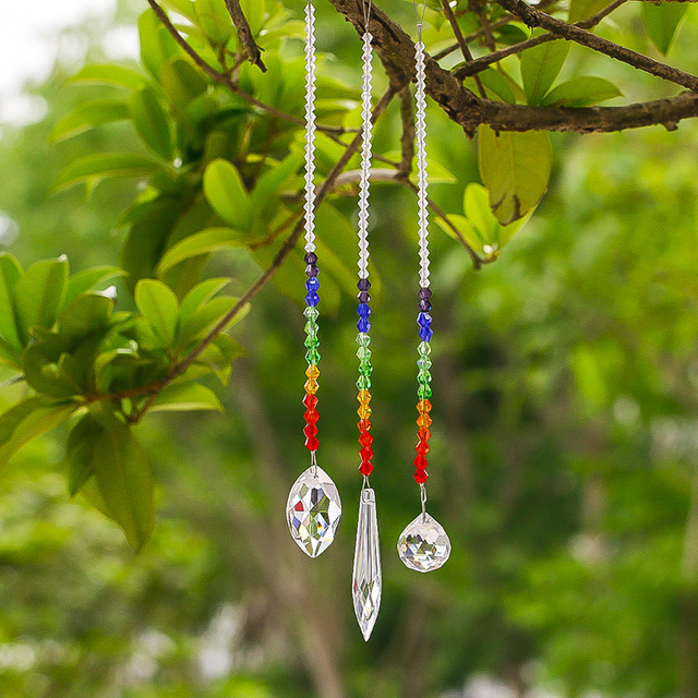 H&D Crystal Prism Rainbow Octogon Chakra Hanging Suncatcher – Window Sun Catcher, Set of 3