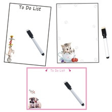 Magnetic Whiteboard Fridge Magnets Dry Wipe Marker Record Message Board Reminder Memo Pads Daily Week Planner Dog Cat Note List