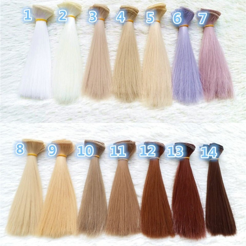 Dcm 1pc 15*100cm Doll Accessories Straight Synthetic Fiber Wig Hair  For  Handmade Cloth High-temperature Wire Diy Texitle #2
