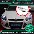PUIYUE стайлинга Автомобилей Freeshipping Новый 9600Lm Для 2012-2014 Ford Focus Фары Автомобиля Angel Eyes LED Бровей Дневного свет