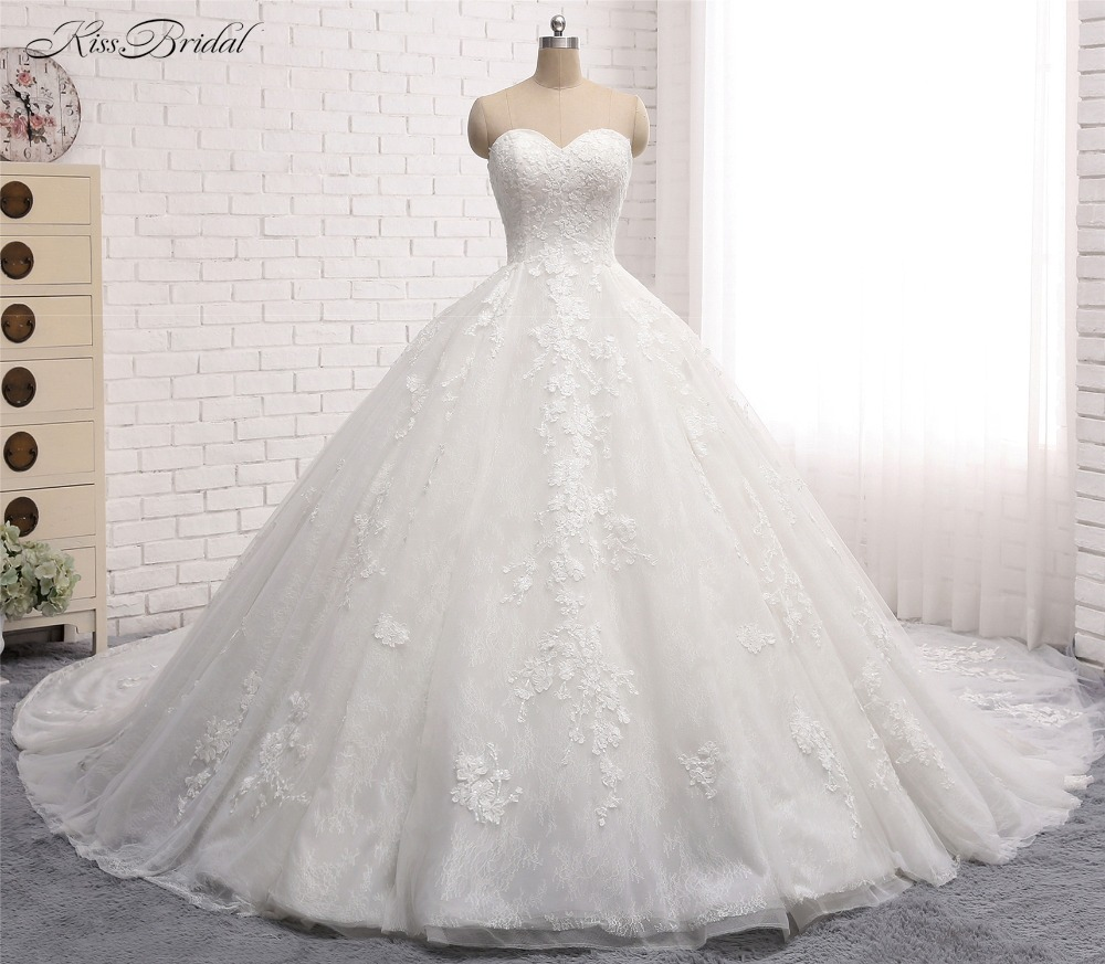 2017 Long Wedding Dress with Long Waist Train Sweetheart Vestido de noiva Appliques Lace Tulle Ball Gown Wedding Dresses