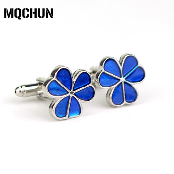 Four Leaf Clover Brand Cuff Buttons Cufflinks for Mens and Women Gifts Blue Color Fashion Jewelry Clover Cufflinks -20 image