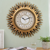 American Clock Wall Clock Living Room Modern Creative Personality Fashion Mute Clock European Retro Decoration Sun Wall Hanging