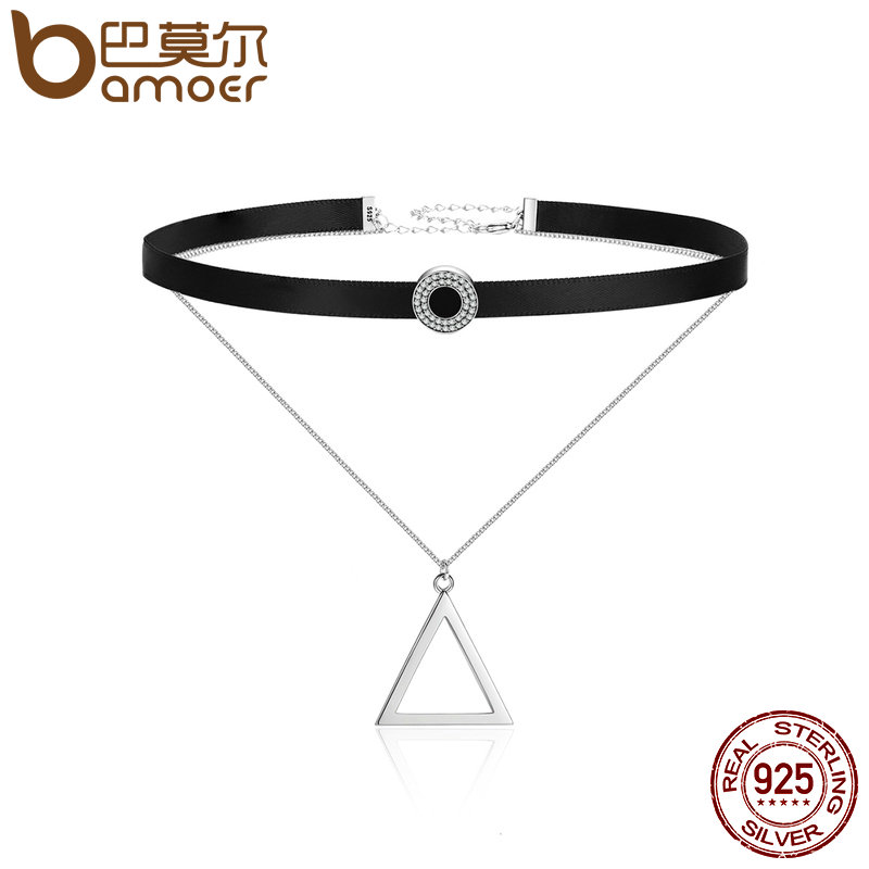BAMOER Trendy 925 Sterling Silver Double Layer Black Braid Triangle Round Chokers Pendant Necklaces Collar Jewelry