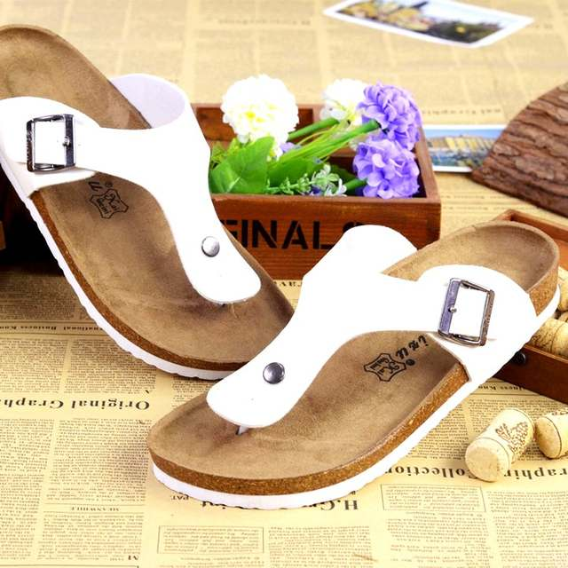 6d187aae491 Unisex Women Summer Shoes European Popular Brand Cork Sandals Flip Flops  Anti Slip Beach Sandals Cork