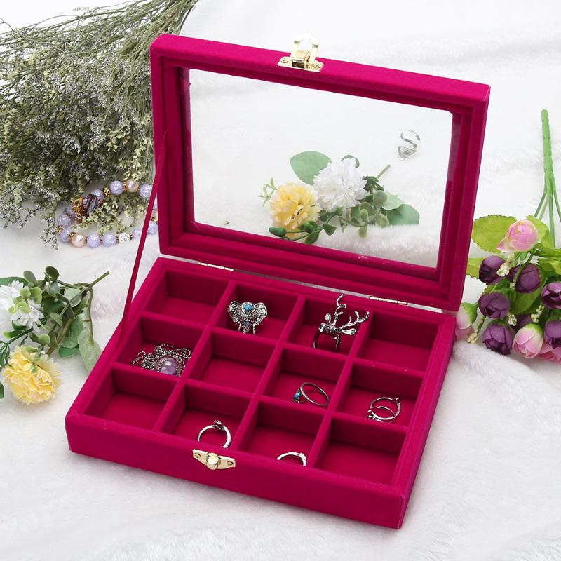 JOCESTYLE Classic Velvet Glass Jewelry Display Box Earrings Ring Box Jewelry Tray Holder Casket Storage Organizer Case jewelry organizer ring display stands ring showed tray holder for rings showcase velvet organizer box for women decorations